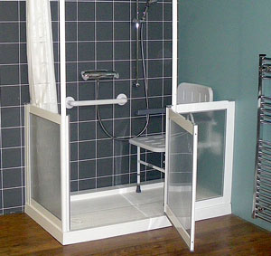 Shower with step in tray