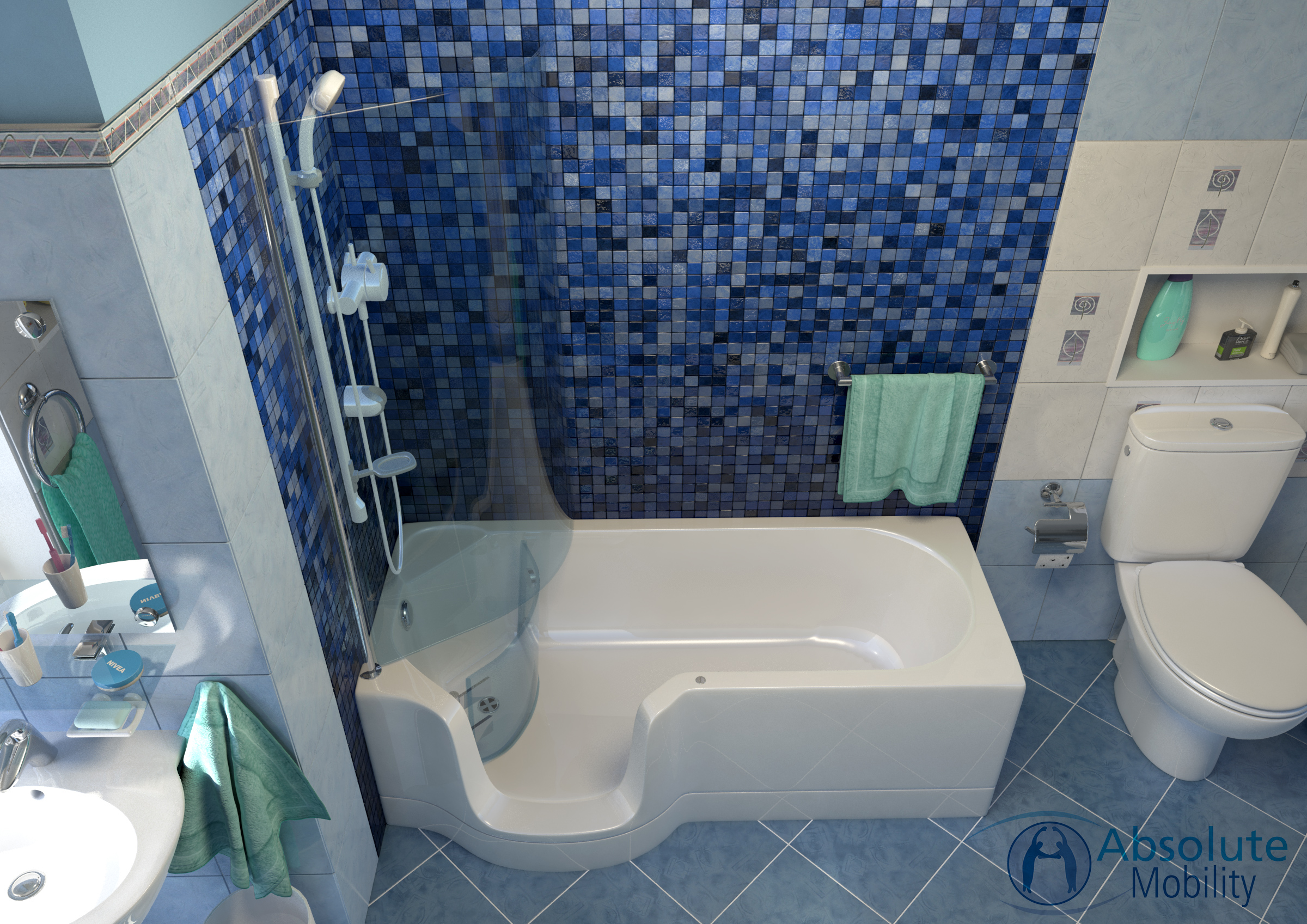 Walk In Shower Baths for the Disabled - Absolute Mobility