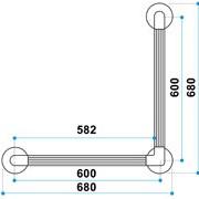 90 Angled Fluted Grabrail Dimagram