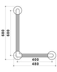 Ergogrip Angled Grabrail Dimensions