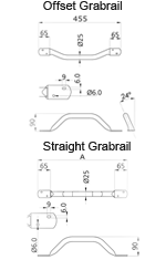 Straight Flat Ended Grabrail Dimensions