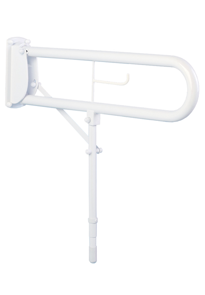 Hinged Arm Support with leg and toilet roll holder