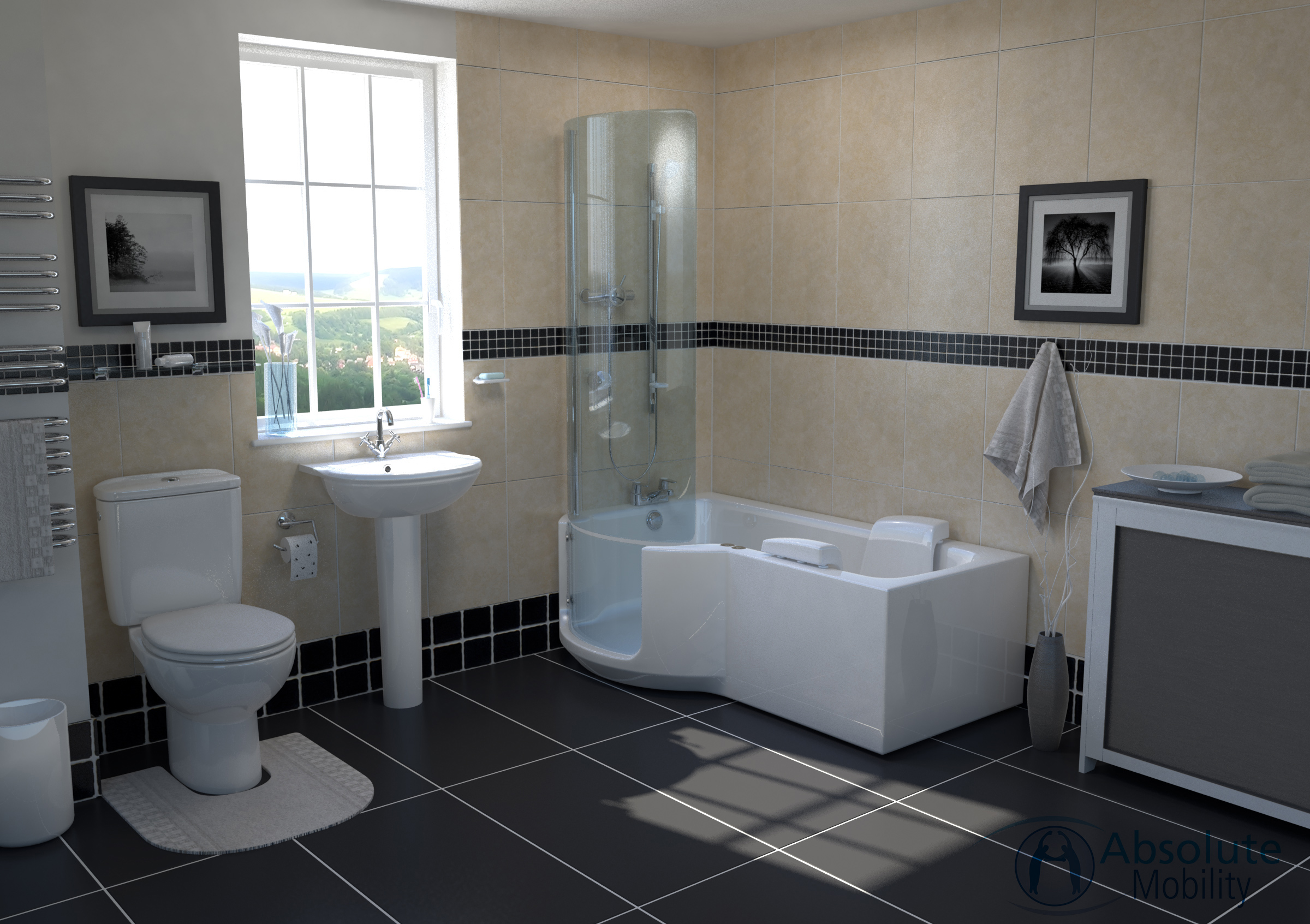 Walk In Shower Baths For The Disabled Absolute Mobility