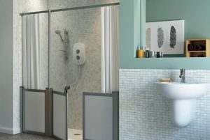 disabled shower cubicle for assisted bathing