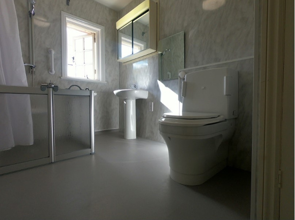 Bathroom designed for client with motor neurone disease
