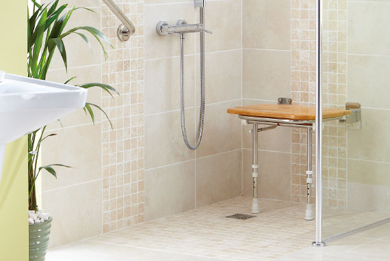Wooden Slatted Fold Up Shower Seat