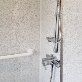 easy clean shower panels and grab rail